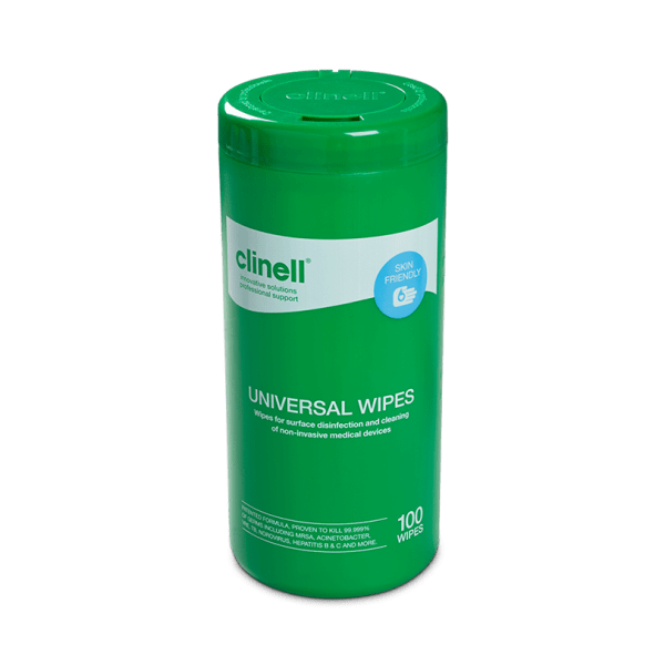 CLINELL UNIVERSAL SANITIZING WIPES - 100 wipes tub