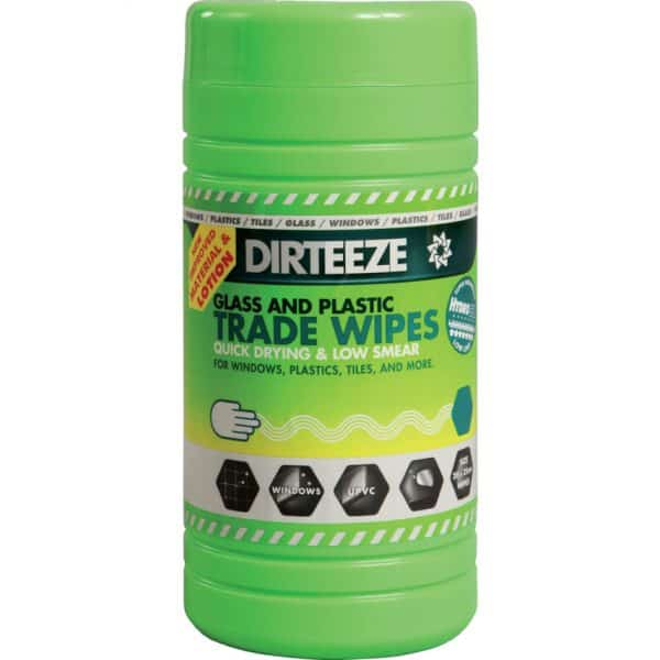 Dirteeze Glass and Plastic Wipes 80 wipes per tub